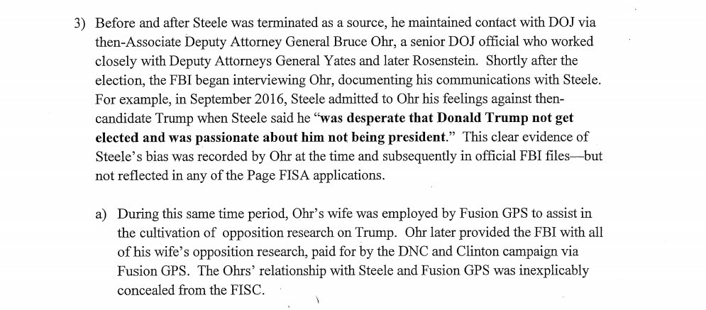 FBI takes dossier to secret court to get secret warrant to spy on American.   FBI did NOT INCLUDE recorded bias of dossier author Steele when he told DOJ attorney Bruce Ohr he 'was desperate that @realDonaldTrump not get elected and was passionate about him not being president.'