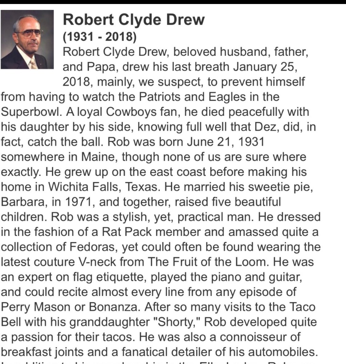 Cowboys fan dies before Super Bowl LII, gets best obituary ever from his family