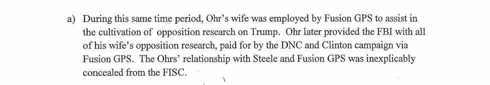FBI takes dossier to secret court to get secret warrant to spy on American.  Bruce Ohr worked for DOJ. Nellie Ohr worked for dossier creator Fusion GPS to cultivate opposition research on Trump.  This connection was 'INEXPLICABLY CONCEALED' from secret FISA court. #memoday