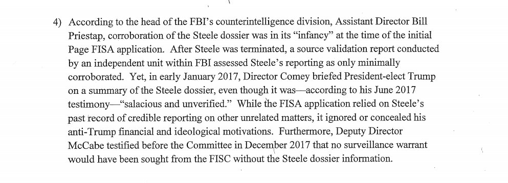 FBI takes 'salacious and unverified' dossier to secret court to get secret warrant to spy on an American.  Deputy Director McCabe testified to House Intel committee that without the dossier, 'no surveillance warrant would have been sought.' #MemoDay #NunesMemo