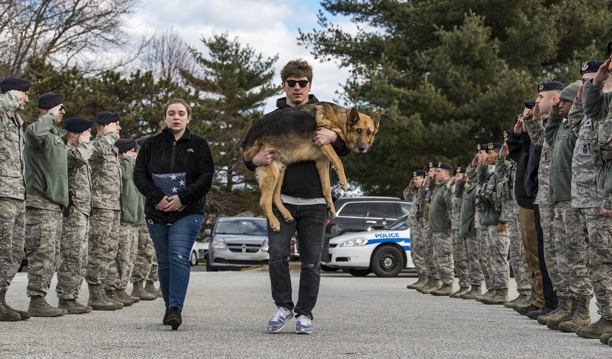 Members of the 436th Security Forces Squadron say farewell to retired military working 🐶 Rico as his former  handler carries him to the veterinary clinic. Rico was suffering from a spinal cord disease. We thank him for his dedicated service.