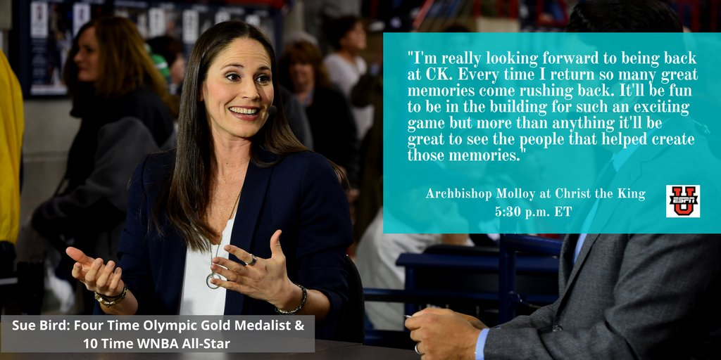 4 time Olympic Gold Medalist & 10 Time WNBA All-Star @S10Bird returns to where it all started.  Archbishop Molloy vs. Christ the King.  Tonight at 5:30 ET on ESPNU