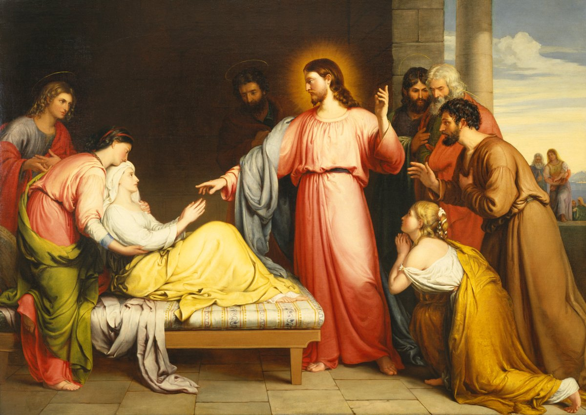"""Archdiocese of NY on Twitter: """"#Gospel Simon's mother-in-law lay sick with  a fever. They immediately told him about her. He approached, grasped her  hand, and helped her up. Then the fever left"""