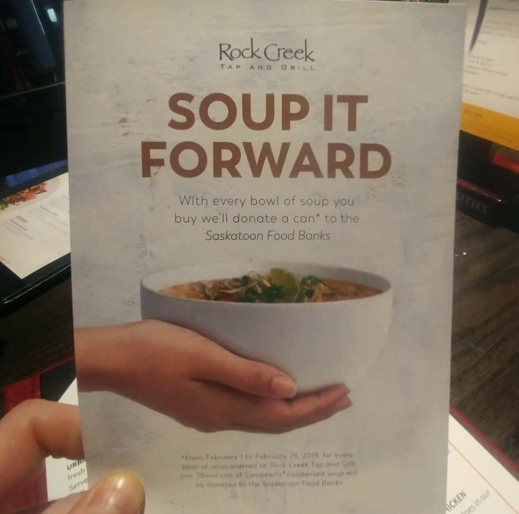 Saskatoon food bank on twitter heading to rock creek tonight rock creek will donate a can of soup to the saskatoon food bank learning centre what a great way to soupitforwardpicitter8ytoidn5kz forumfinder Gallery