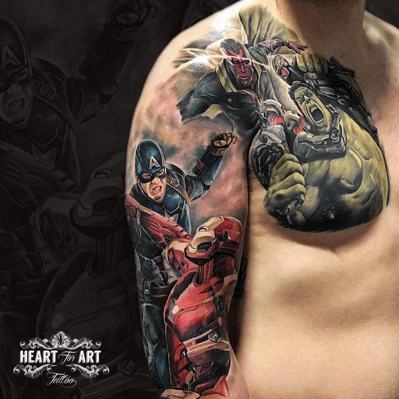 Marveltattoo hashtag on twitter for Marvel sleeve tattoo black and white