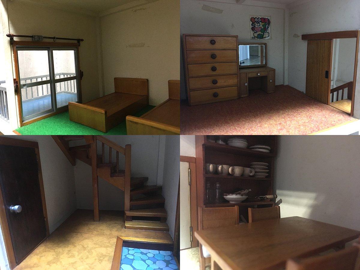 妻が子供の頃、シルバニアファミリーの家がほしいと言ったらお祖父さんが作ってくれたというドールハウスが泣けるほど昭和の住宅なのでみんな見てほしい。食器以外は家具も全部手作りらしい。