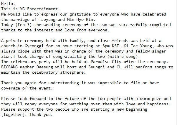 YG Entertainment statement on Taeyang and Min Hyo Rin's wedding... http://ridder.co/dglgpB  by #iBigBang via @ridder_co