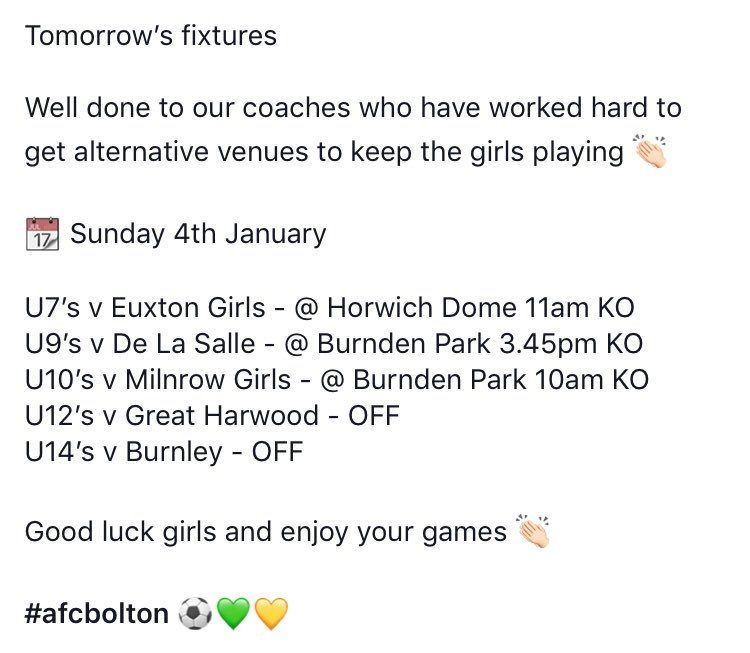 📆 Sunday 4th February  Well done to our coaches who have worked hard to find alternative venues to keep the girls playing 👏🏻  Good luck and enjoy your games  #afcbolton  @BLGirlsFootball  @BurndenPark @EuxtonGirlsFC @DelasalleDev @milnrowjuniors @GreatHarwoodFC @BFCLadies