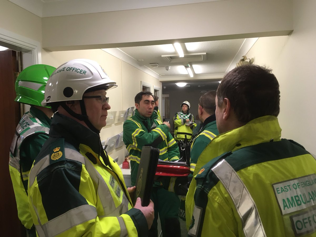 Staff have been working hard this evening at the scene of a #fire in Stevenage with #bluelight colleagues. 6 patients taken to hospital and we're finishing up on site. #WeareEEAST