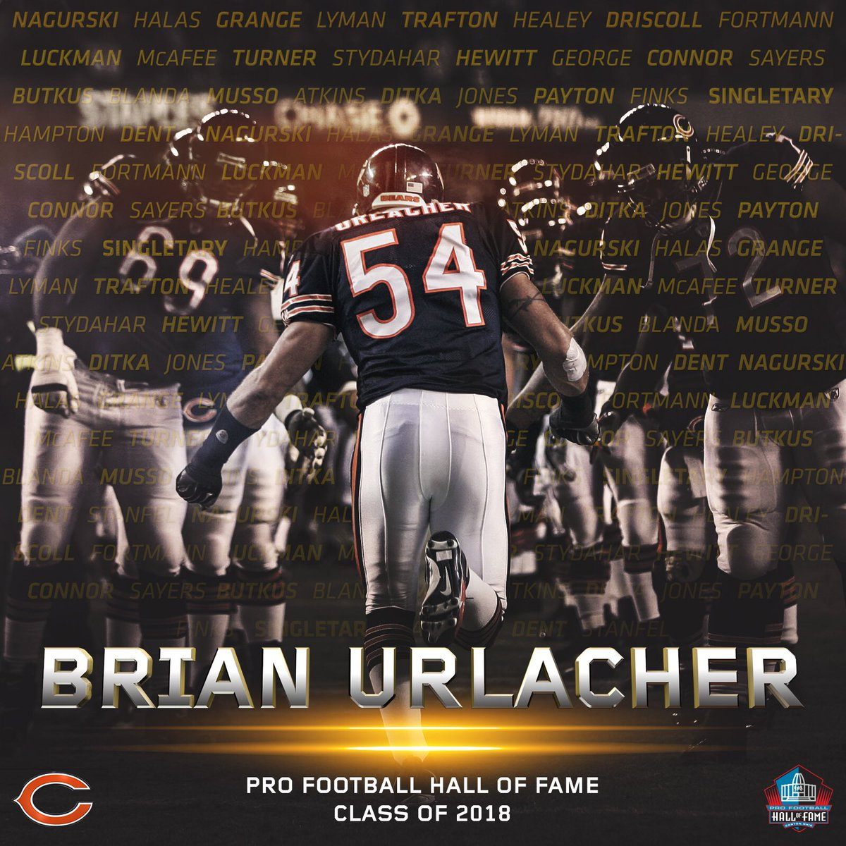 IN.  Welcome to Canton, Brian Urlacher.  🐻⬇️ #PFHOF18