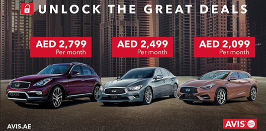 avis car rental uae on twitter benefit from the avisuae offers on infiniti q30 q50 qx50. Black Bedroom Furniture Sets. Home Design Ideas