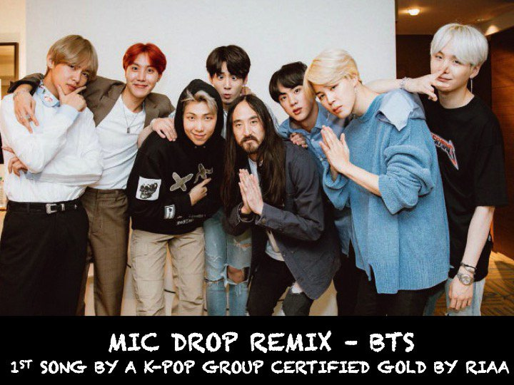 #BTS break another record as #MicDropRemix With #SteveAoki and #Desiigner is the First Song by a Korean Group to be Certified Gold by the Recording Industry Association of America!👏1⃣🇰🇷📀🕺🕺🕺🕺🕺🕺🕺👑🌟