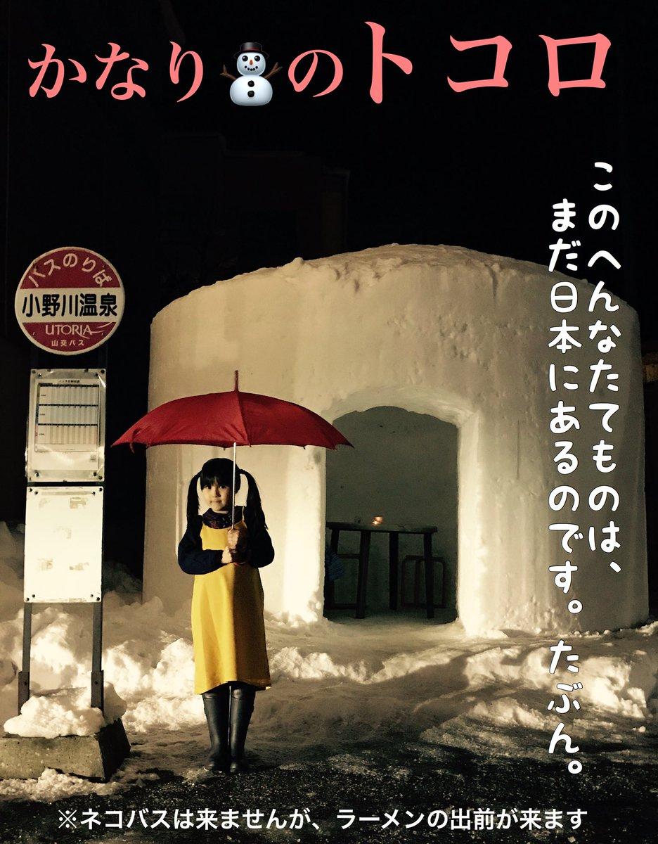 かなりのトッコロ、トッコロ♪ トッコロ、トッコ〜ロ♪真冬のときにだけあなたに訪れる不思議な出会い〜♪  冬限定の豆もやしラーメン。かまくらへの出前。子どもたちのワクワク。 ふーしーぎーな冒険はじまる〜♪ #となりのトトロ #totoro #小野川温泉 #snow #近いよ米沢 #かまくら村