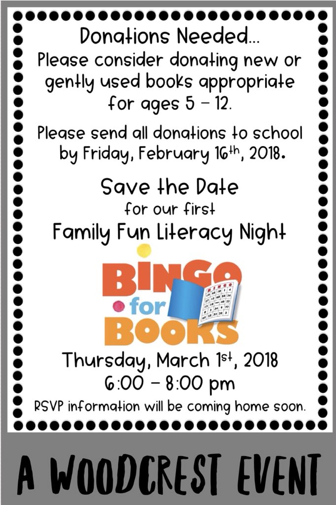 Please consider donating books for our #FamilyFunLiteracyNight on Thursday, March 1st from 6-8 pm. @WoodcrestES appreciates your support. #BingoforBooks coming soon! <br>http://pic.twitter.com/Tdhjtsmcde