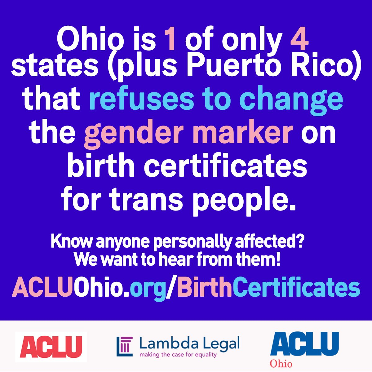 Aclu of ohio on twitter ohios birth certificate policy is aclu of ohio on twitter ohios birth certificate policy is discriminatory against transgender and gender non conforming ohioans were trying to change aiddatafo Image collections
