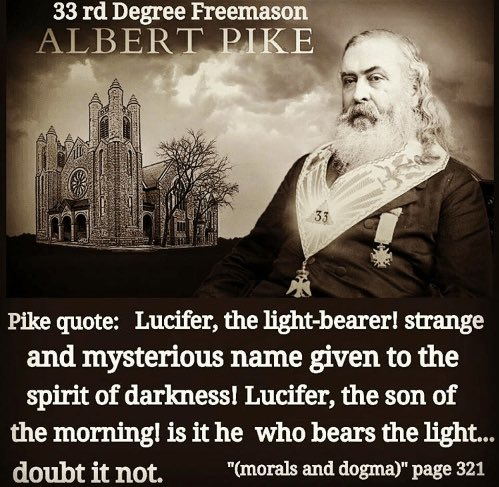 "Ⓥ NAP Paul Ⓐ on Twitter: ""33° Luciferian Albert Pike was the Grand  Commander of the Supreme Council of the Southern Jurisdiction from 1859  until death in 1891. This ""Mother Supreme Council"
