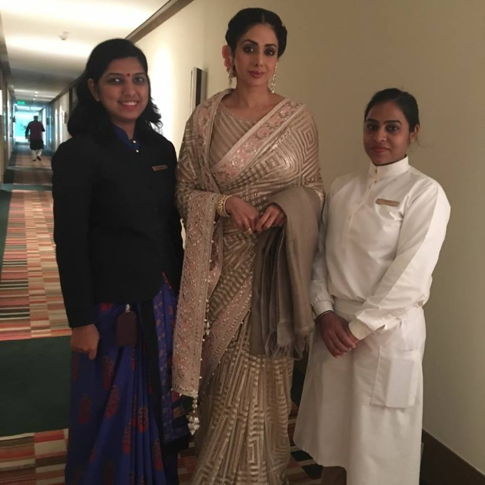 Delighted and privileged to have with us Indian cinema's celebrated actor Ms. @SrideviBKapoor at The Oberoi, Gurgaon. Ms. Kapoor has been regarded as the First Female Superstar of Bollywood and one of the most popular actresses of Indian cinema. @SrideviKapoor