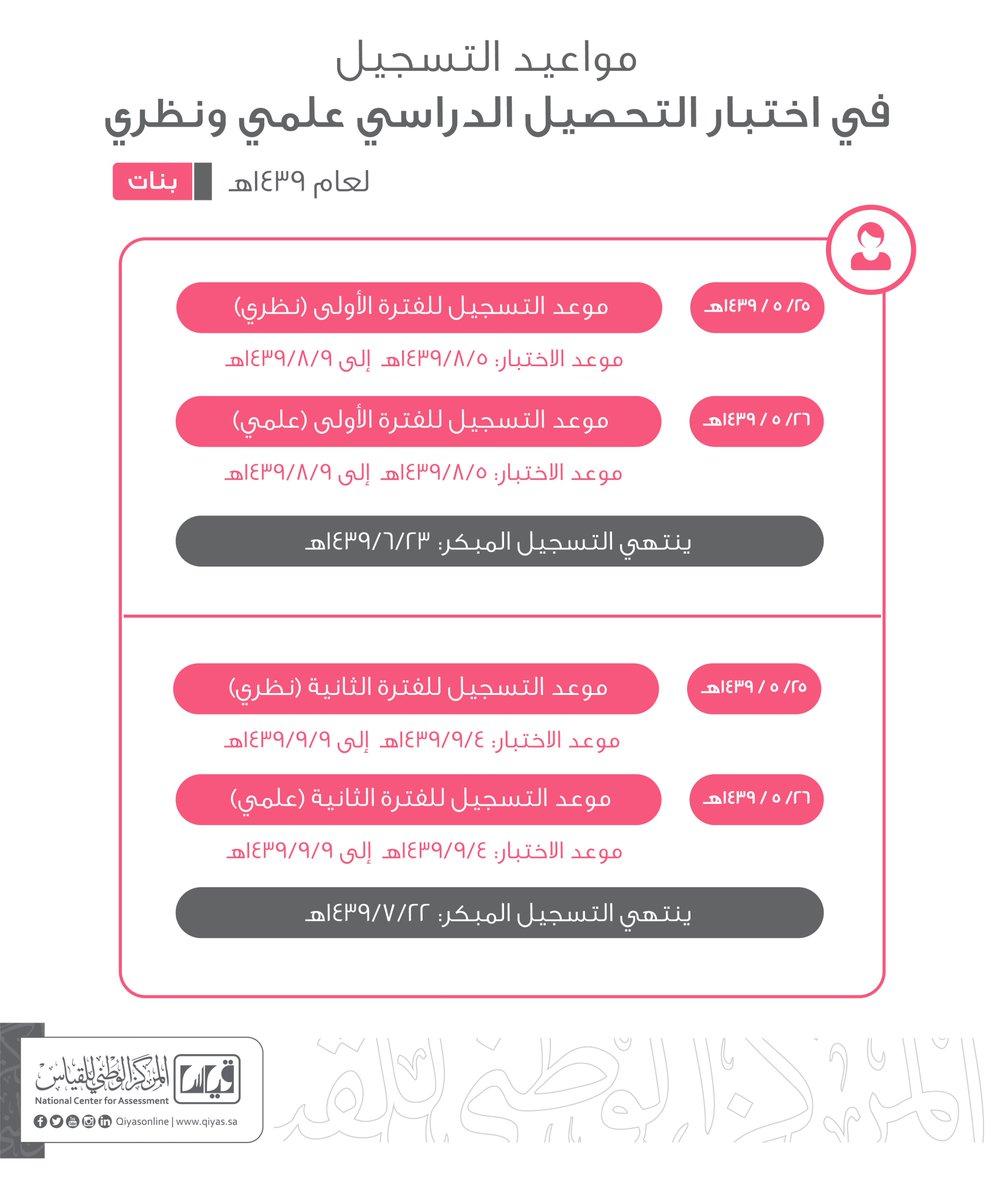 """موعد تسجيل تحصيلي قياس """"إناث"""" Qiyas Exam 1439 رابط مباشر 1 9/2/2018 - 4:25 م"""