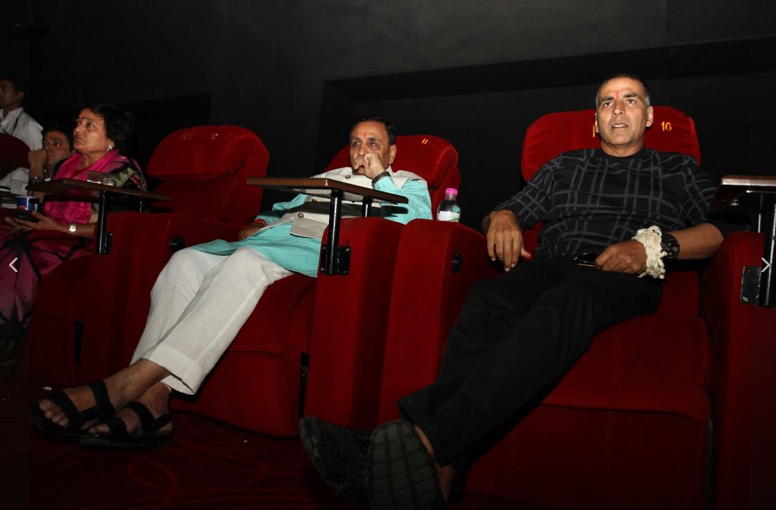 Rupani watches PadMan with Akshay Kumar in special screening preview show
