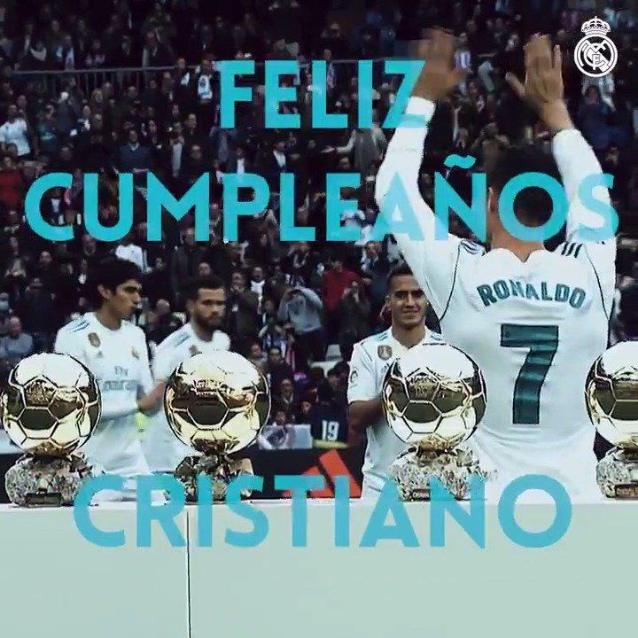 �🎂🎉 ¡Muchas felicidades a @Cristiano quien hoy cumple 33 años! #RealMadrid   #HalaMadrid