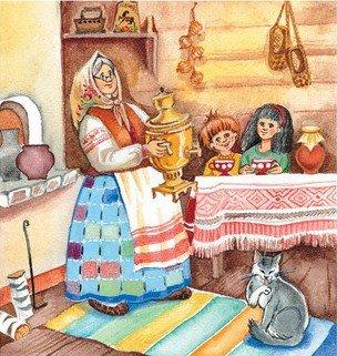 Анимация, картинки в гостях у бабушки в деревне