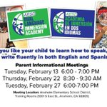 Join AESD for an Informational Meeting about the Dual Language Program. #11yearsstrong @AnaheimElem