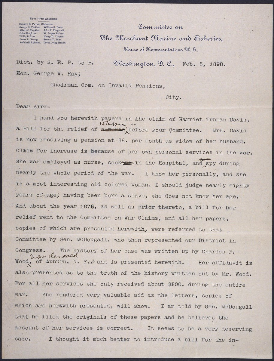 Todays document on twitter letter on behalf of harriettubmans todays document on twitter letter on behalf of harriettubmans pension claim documenting her work as a nurse cook and spy during the civil war aljukfo Image collections