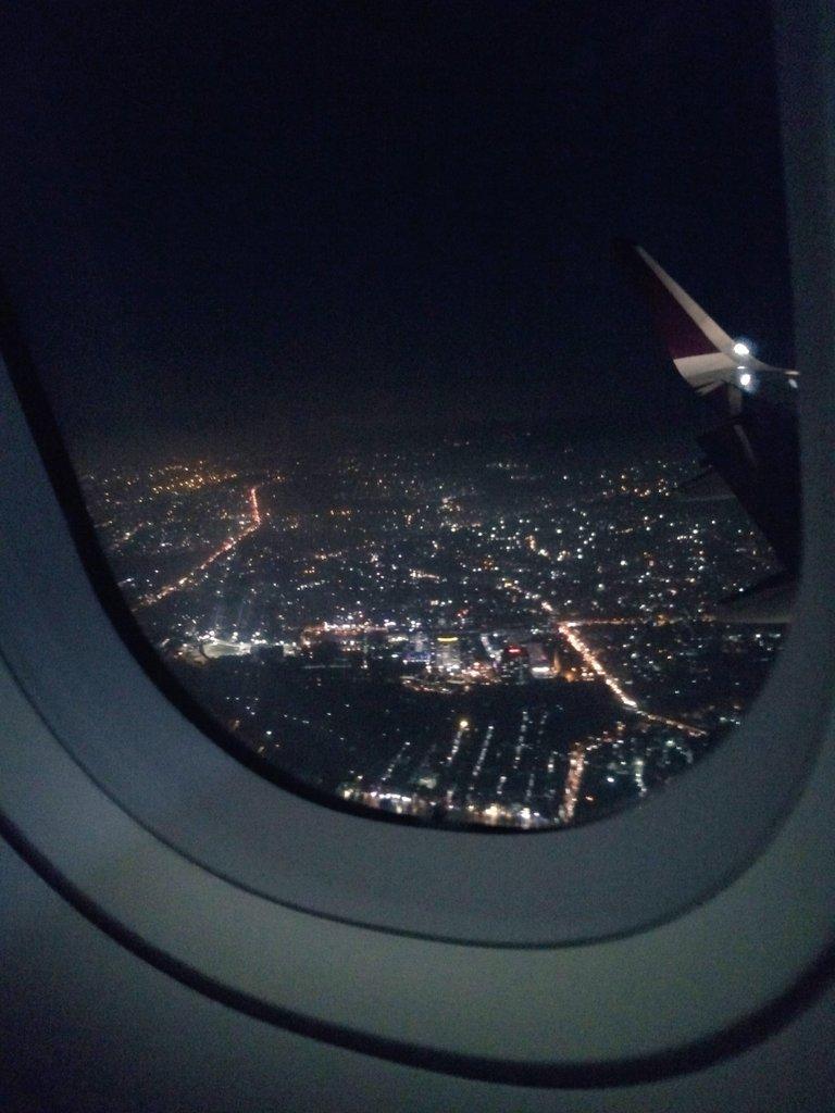 airplane window at night
