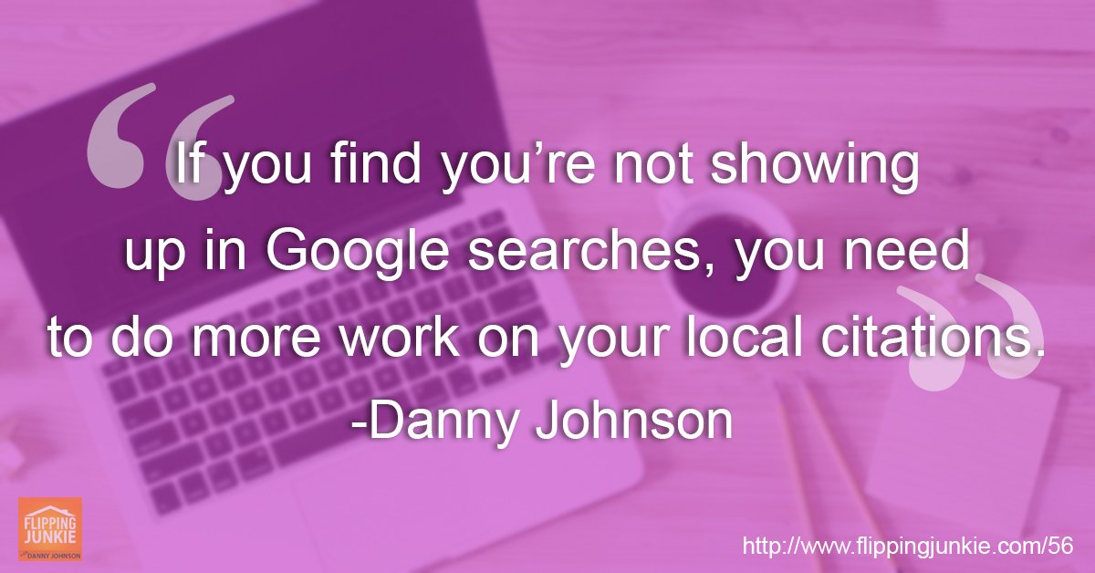 Make sure your #realestateinvesting #business is showing up in #Googlesearches by featuring yourself in more #localcitations. See how in this episode of the #FlippingJunkie podcast at:  https:// flippingjunkie.com/episode-56-mar keting-online-lead-generation-part-2-website-promotion/?utm_source=meet-edgar&amp;utm_medium=organic&amp;utm_campaign=podcast&amp;utm_content=episode-56 &nbsp; … <br>http://pic.twitter.com/tU6F1NcERF