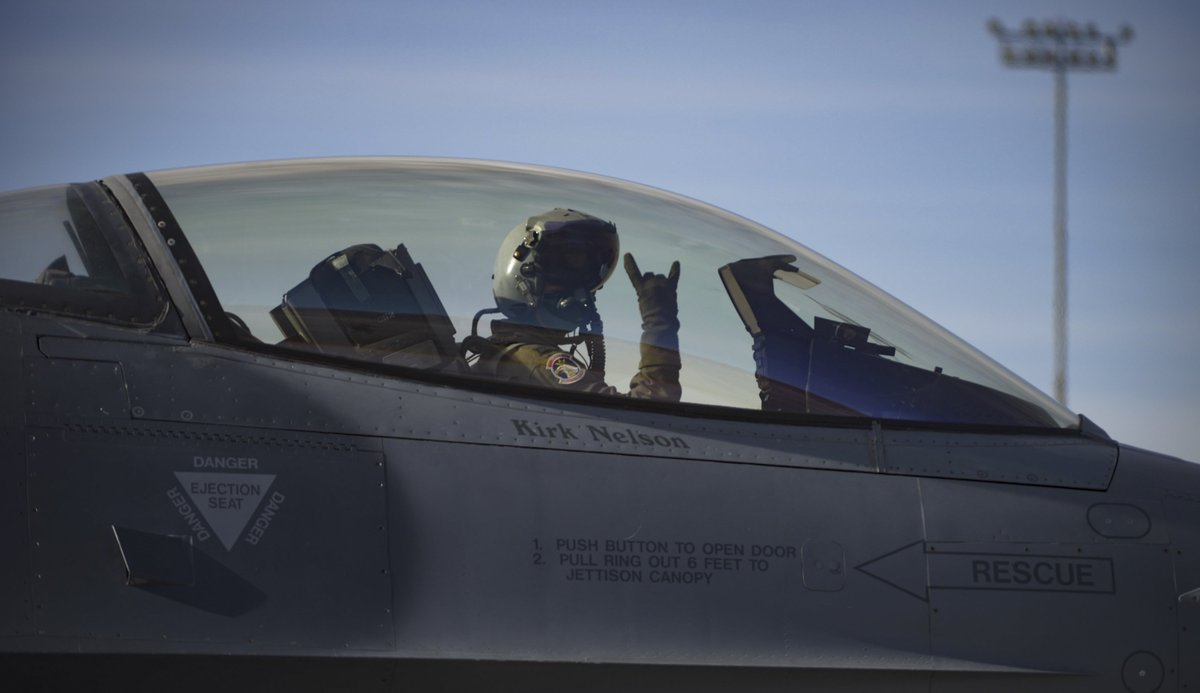 An F-16 Fighting Falcon fighter jet pilot signals before takeoff during Red Flag 18-1 at @NellisAFB Nevada Jan. 30 2018. (U.S. Air Force photo by Airman ... & Airman Magazine on Twitter: