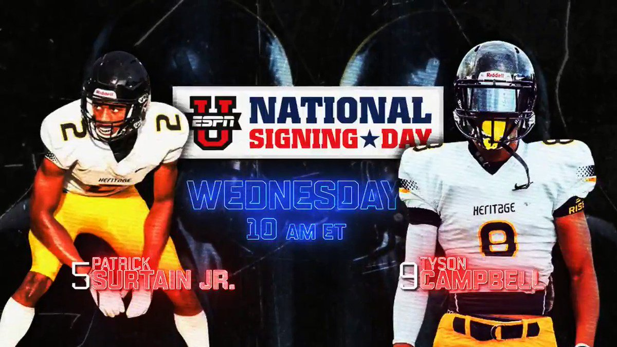 Where will No. 5 Patrick Surtain Jr. and No. 9 Tyson Campbell take their talents???  Find out tomorrow at 10 AM ET on ESPNU! #NSD