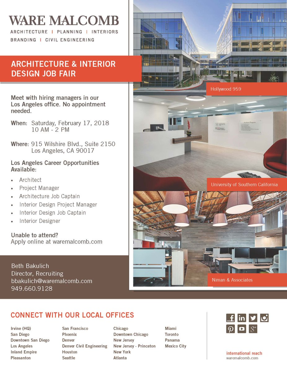 Check Out Our Architecture Interiordesign Jobfair On Sat 2 17 From 10 To Join Awesome Team No Appointments Needed