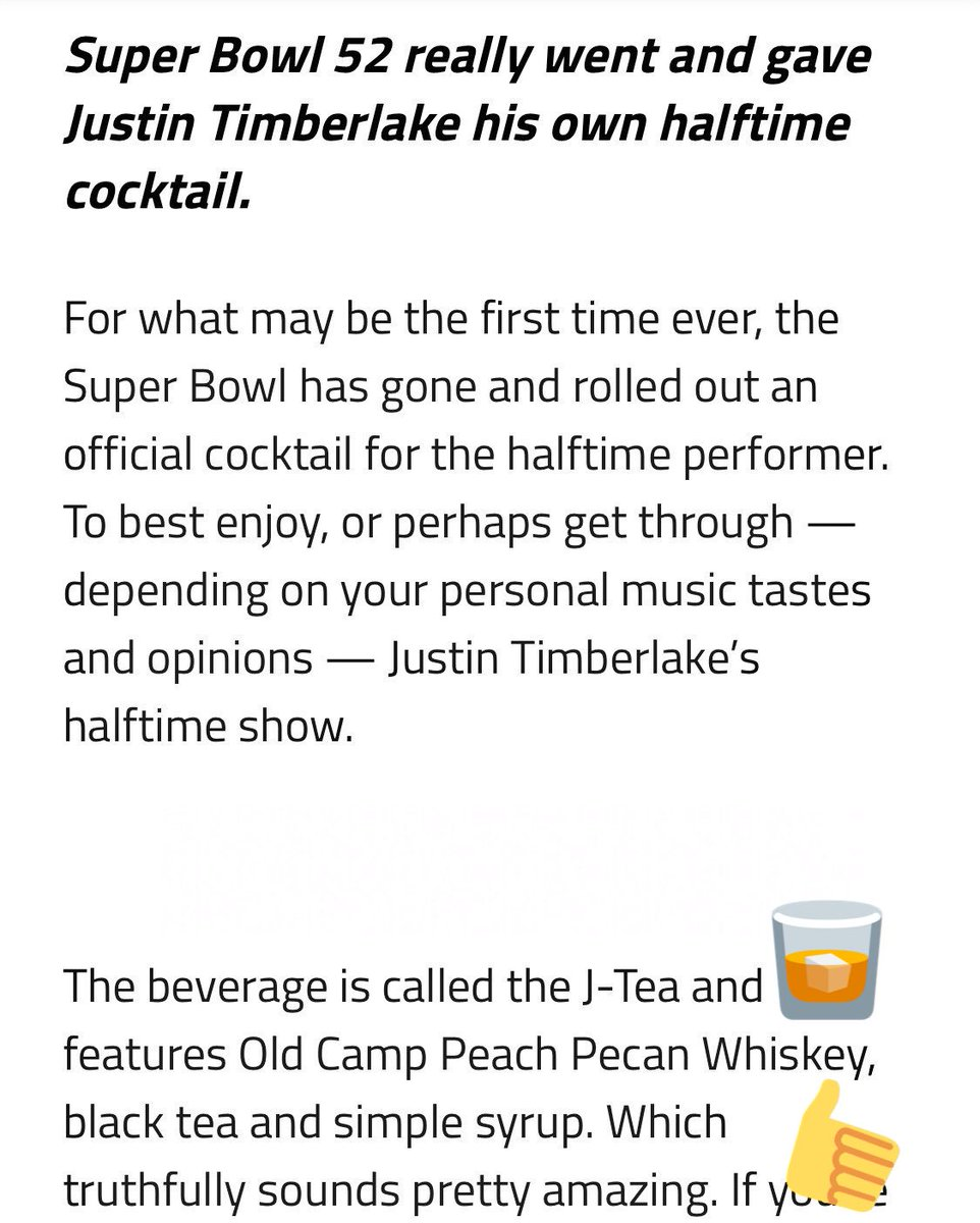 JT has a new @SuperBowl drink for y'all!...