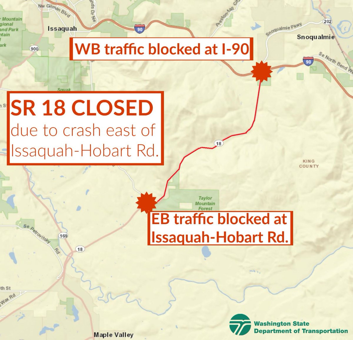 King 5 Traffic Map.Wsdot Traffic On Twitter Avoid Sr 18 Thru Tiger Mountain