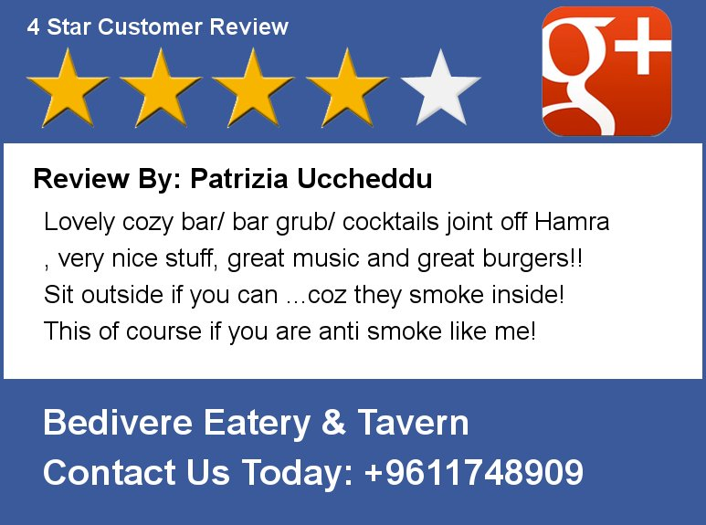 Review By: Patrizia Uccheddu Lovely cozy bar/ bar grub/ cocktails joint off Hamra , very nice stuff, great music and https://t.co/VL07z0ERgY