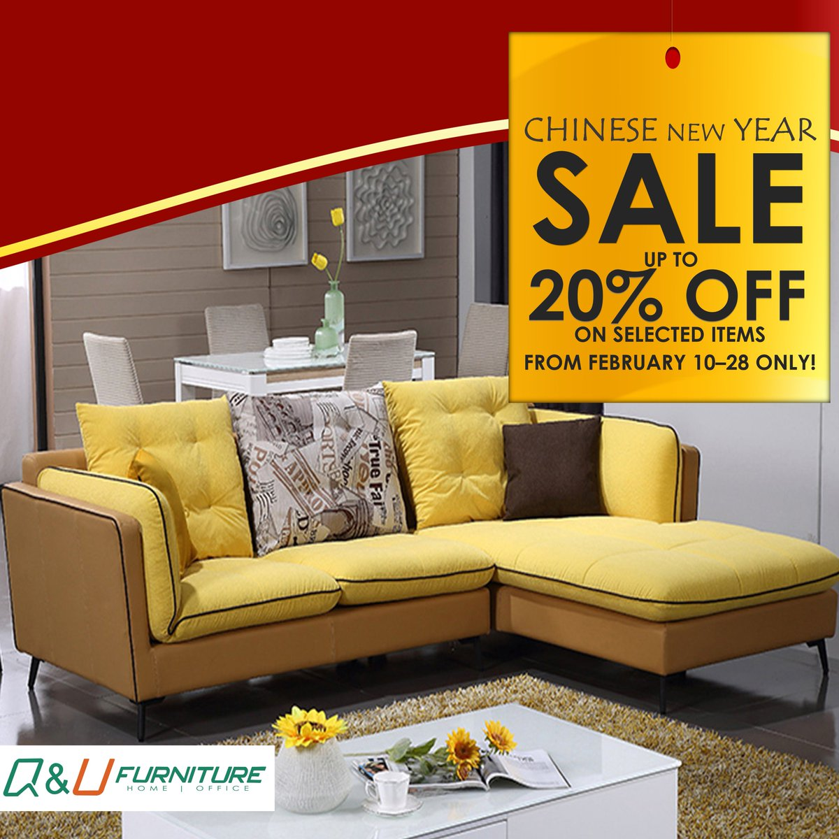 home office sofa. OFF In Selected Home And Office Furniture For Our CHINESE NEW YEAR SALE From FEB 10 - 28 ONLY! #sale #furniture #home #office #sofa #fabric #livingroom Sofa