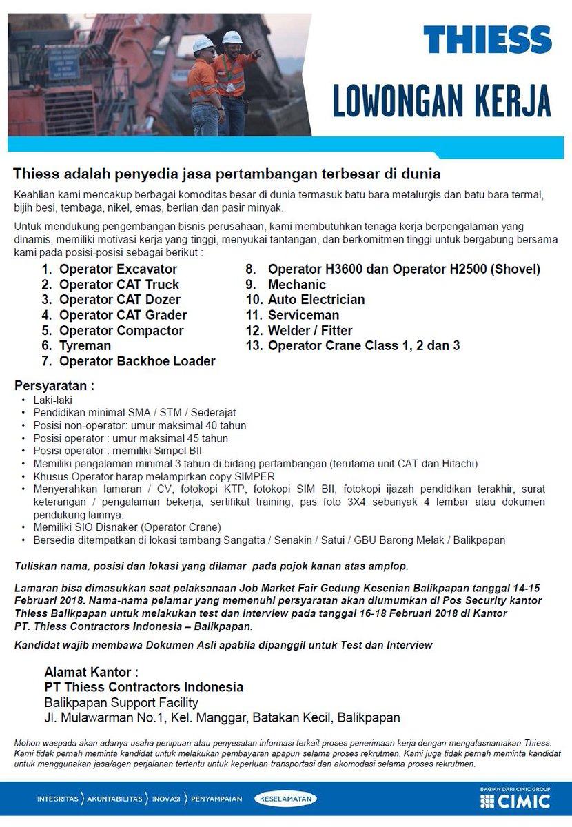 Thiess Indonesia Na Twitteri Saat Ini Kami Punya Banyak Lowongan Operator Mekanik Welder Untuk Tambang Tambang Di Kalimantan Cek Https T Co 46mkvngzq3 Https T Co 7s71aevton