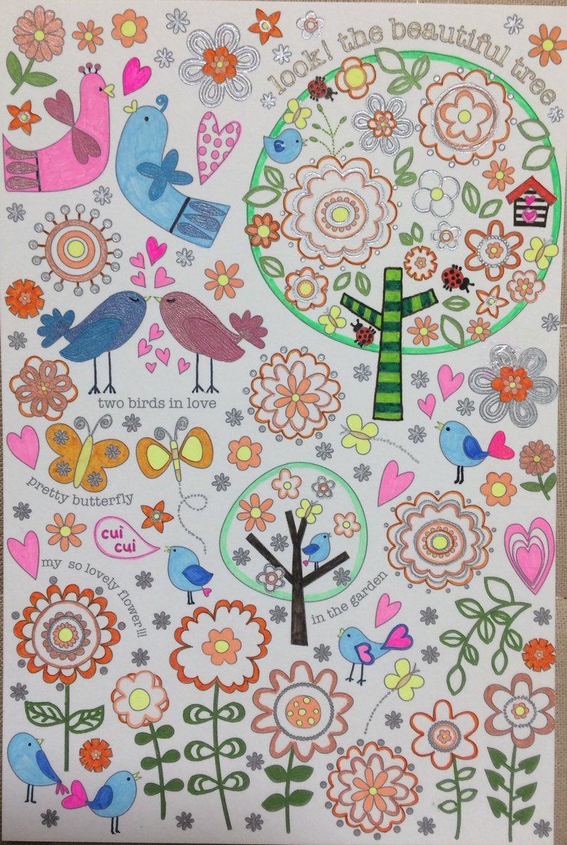 虹色工房 On Twitter いこいの森ポストカードより 塗り絵完成