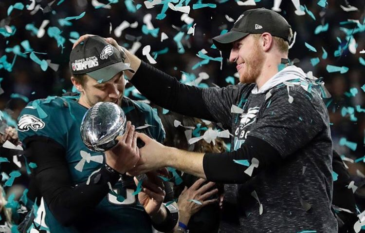 This pic sums up why our team was successful. It was always about wanting your teammates to be successful. I know it was hard for @cj_wentz as a competitor but I know he was truly happy for Foles. We wouldn't be in this position if it wasn't for him. Future MVP and 2x SB Champ