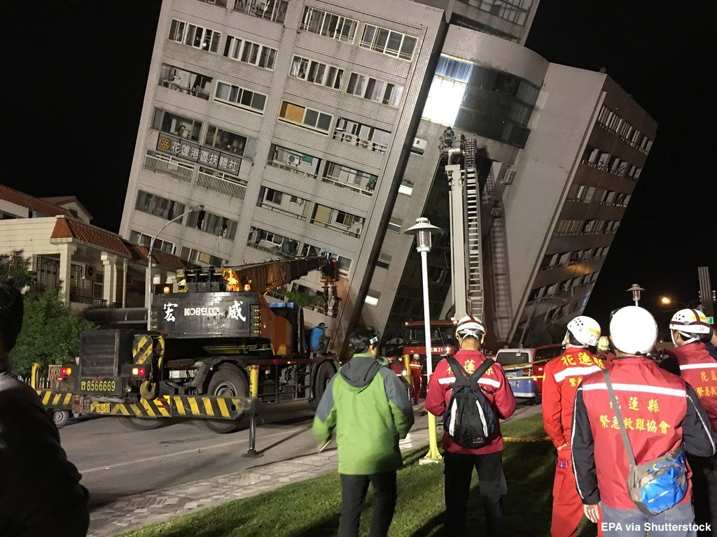 At least four buildings in Hualien, Taiwan have collapsed and one bridge  has been damaged
