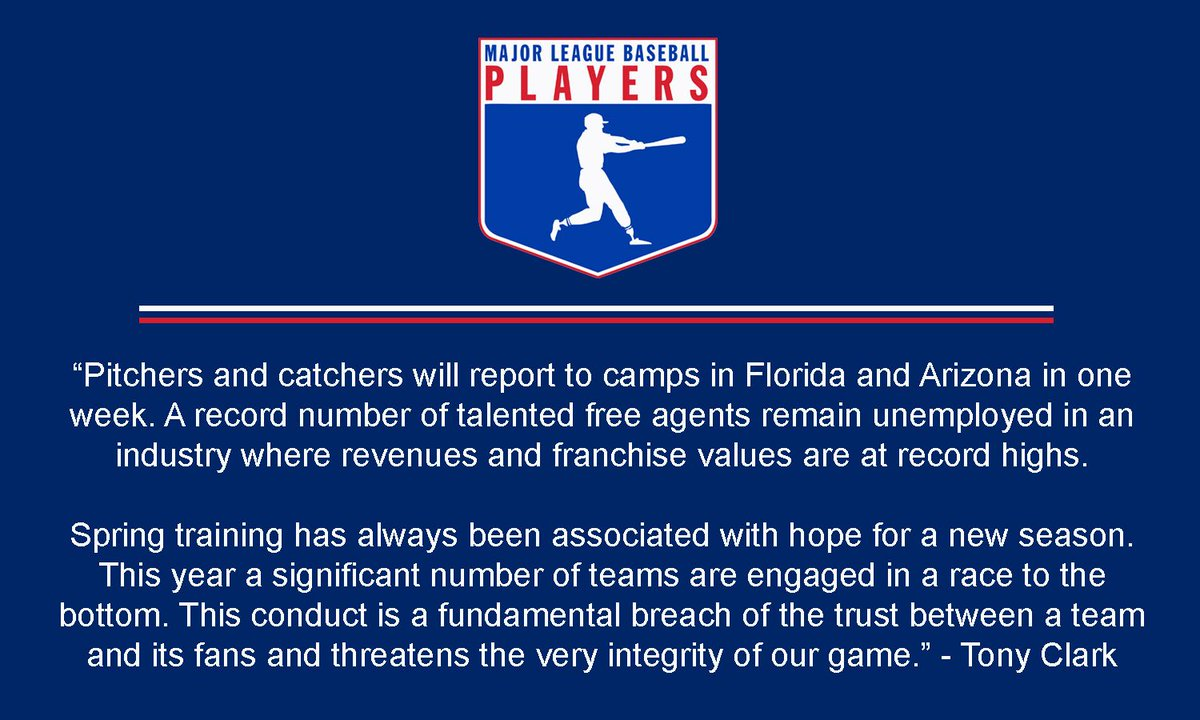 Statement of #MLBPA Executive Director Tony Clark Regarding the Integrity of the Game  Declaración del Director Ejecutivo de MLBPA Tony Clark Sobre la Integridad del Deporte  https://t.co/CMcTq09D3m https://t.co/AkBDLgNpM2