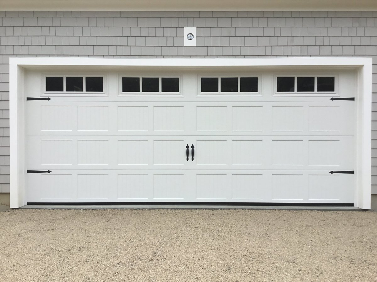 Ron Dulmaine Sons On Twitter Haas 16x7 Double Car Steel Carriage House White Garage Door With Short Ribbed Panels 3 Pane Square Windows And Decorative Hardware Garagedoors Capecod Harwich Https T Co 7chsnlzrp2