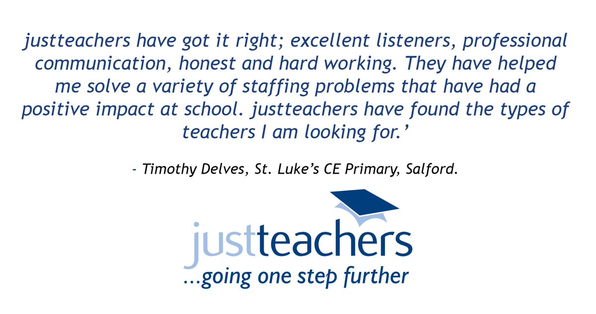 """test Twitter Media - Another fantastic testimonial from a happy Head Teacher. """"justteachers have got it right; excellent listeners, professional communication, honest and hard working. They have helped me solve a variety of staffing problems that have had a positive impact at school."""" https://t.co/FA88Lu88Z0"""