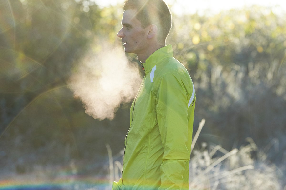 1838a354c4 ... to run no matter how low the mercury goes.  mart1nruns wears the Ultra  Rain Jacket in Citrus. SOAR Beautiful Performance Running Wear.
