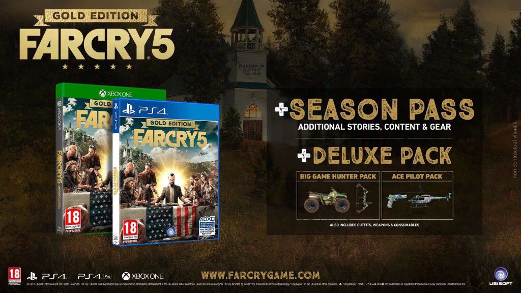 Pre-order #Farcry5 today Upgrade to the Gold Edition and get -FAR CRY 5 -The SEASON PASS -The DIGITAL DELUXE PACK -The BIG GAME PACK -HUNTER PACK -The ACE PILOT PACK -The EXPLOSIVE PACK -The CHAOS PACK  So much stuff included I struggled to stay in twitters word count  @DGMNorth https://t.co/deVQEz5WVI