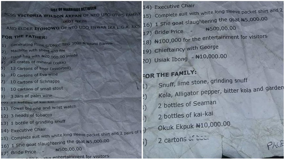 Hilarious marriage list given to a man goes viral