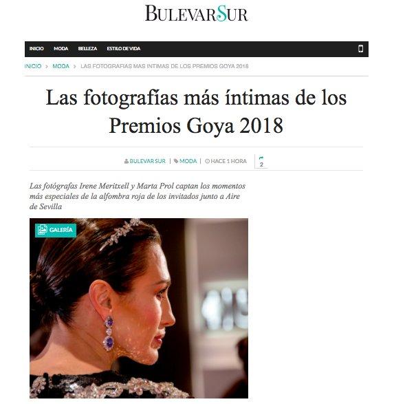 La revista de #moda y #tendencias de @abcdesevilla @BulevarSur recoge en un galería de fotos los momentos más especiales de la #AlfombraRoja de los #PremiosGoya2018 junto a #PerfumesAiredeSevilla.  https://t.co/CidnaQBWdX https://t.co/tsgYv3qsBN