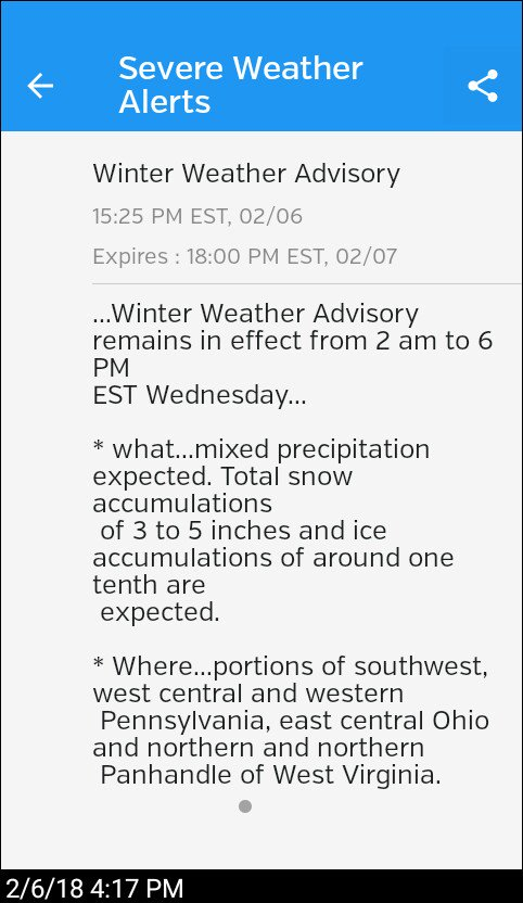 Weather Severe Alert, brought to you by Weather Underground