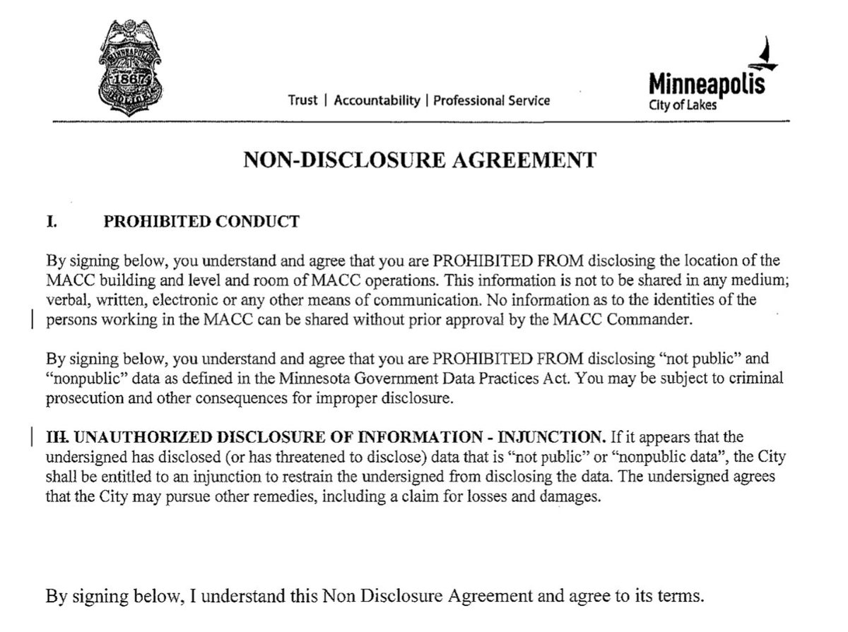 Tony Webster On Twitter Heres The Non Disclosure Agreement
