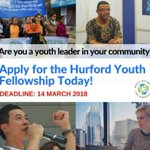 Call for Applications: Hurford Youth Fellowship 2018-19. If you are a youth leader passionate about human rights and democracy, follow this link and apply today   https://t.co/RLkrDASJTC